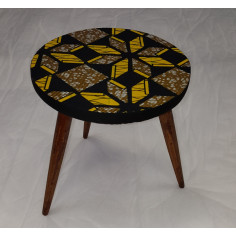 Table Wax ronde motif noir et jaune