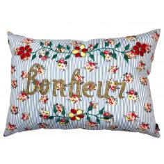 Coussin Fleurs Vintage brodé Bonheur