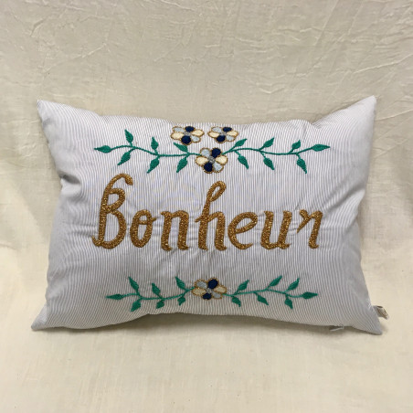 Coussin brodé Bonheur